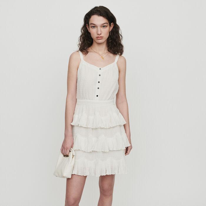 Schulterfreies Rüschenkleid : Kleider farbe Weiss