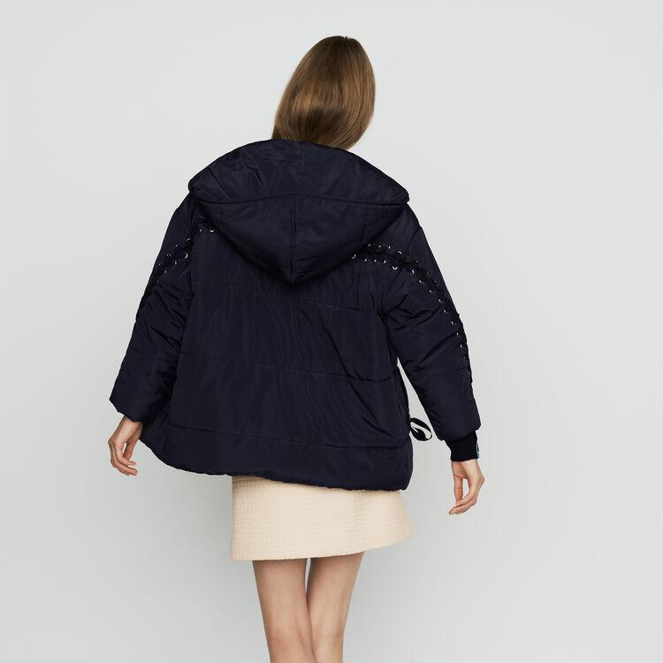 Kurze Daunenjacke mit Schnürung : Mäntel farbe Marineblau