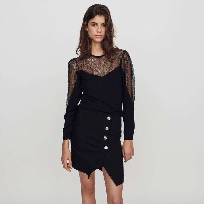 Feinstrick Pullover mit Spitzen : Pullover & Strickjacken farbe Schwarz