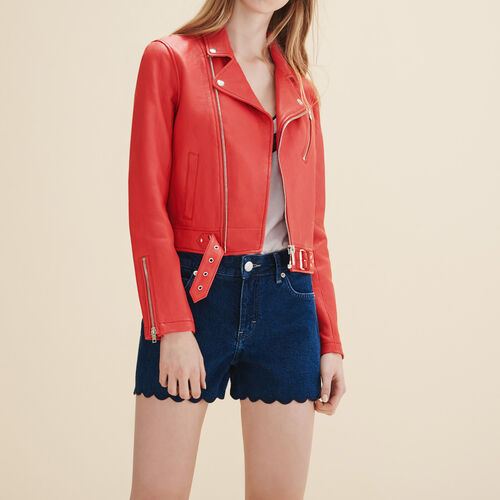 Blouson aus Leder im Bikerstil : Jacken und Blousons farbe Rot
