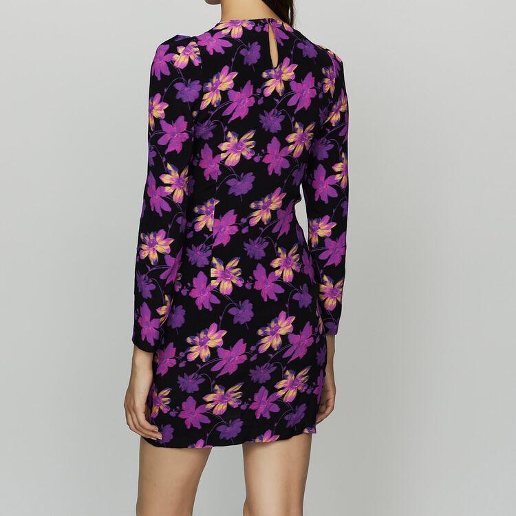 Drapiertes Kleid mit floralem Print : Kleider farbe Print
