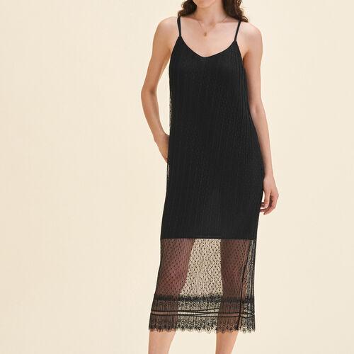Ärmelloses Midi-Kleid aus Plumetis : Kleider farbe Schwarz