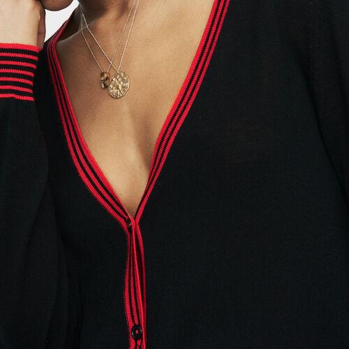 Feiner Cardigan aus Merinowolle : Strickwaren farbe Schwarz