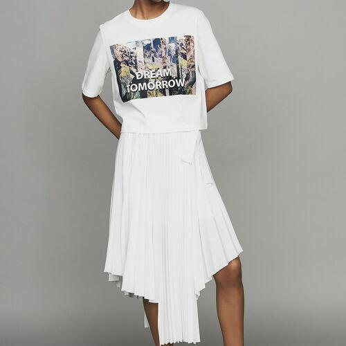 Kurzes T-Shirt mit Print : T-Shirts farbe Weiss