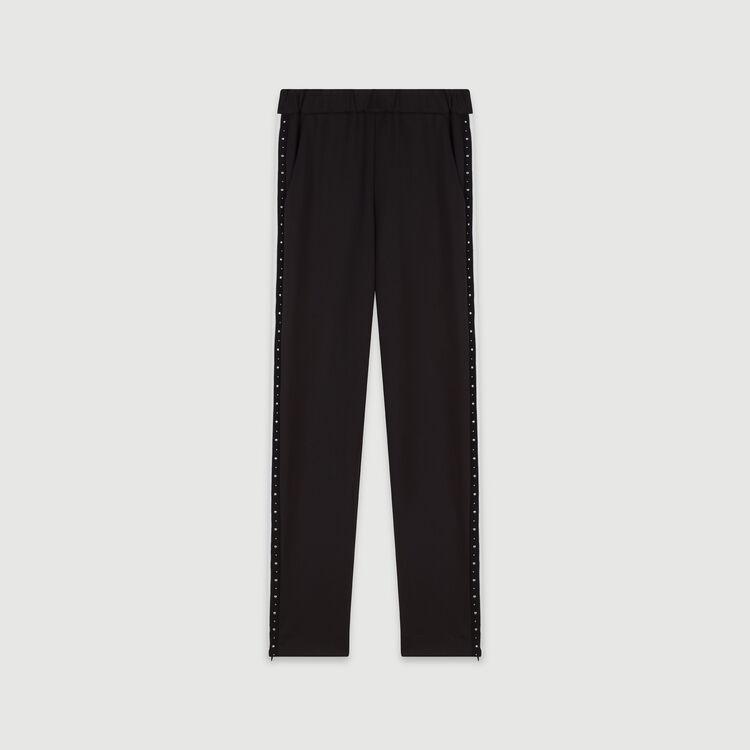 Nieten Hose mit Konstrast-Streifen : Winter Kollektion farbe Schwarz