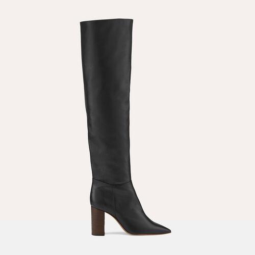 Overknee-Stiefel aus Leder mit Absatz - Schuhe - MAJE