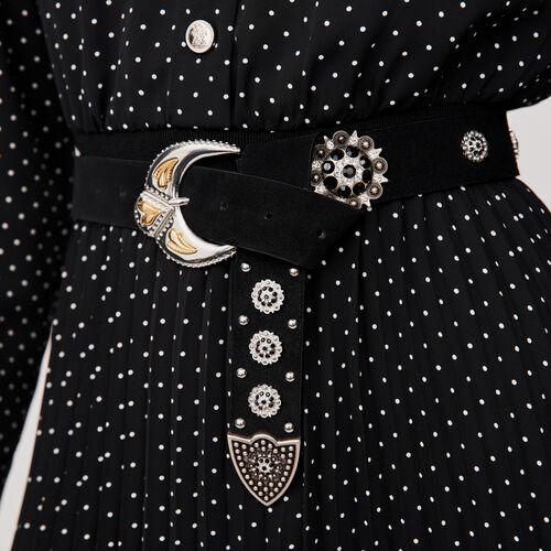 Studded-suede belt : Gürtel farbe Schwarz