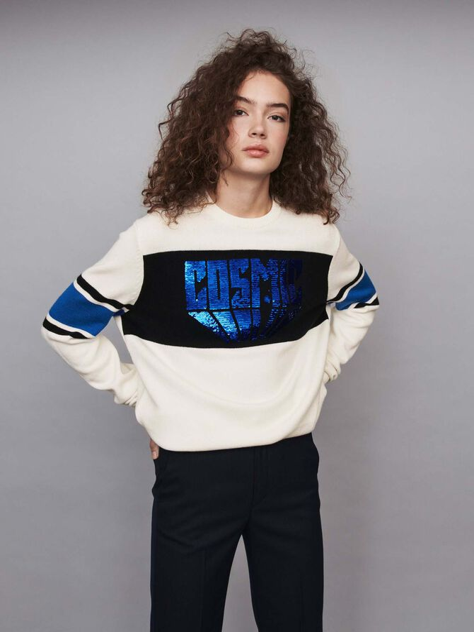 Pailletten Pullover mit Konstrasten - Pullover & Strickjacken - MAJE