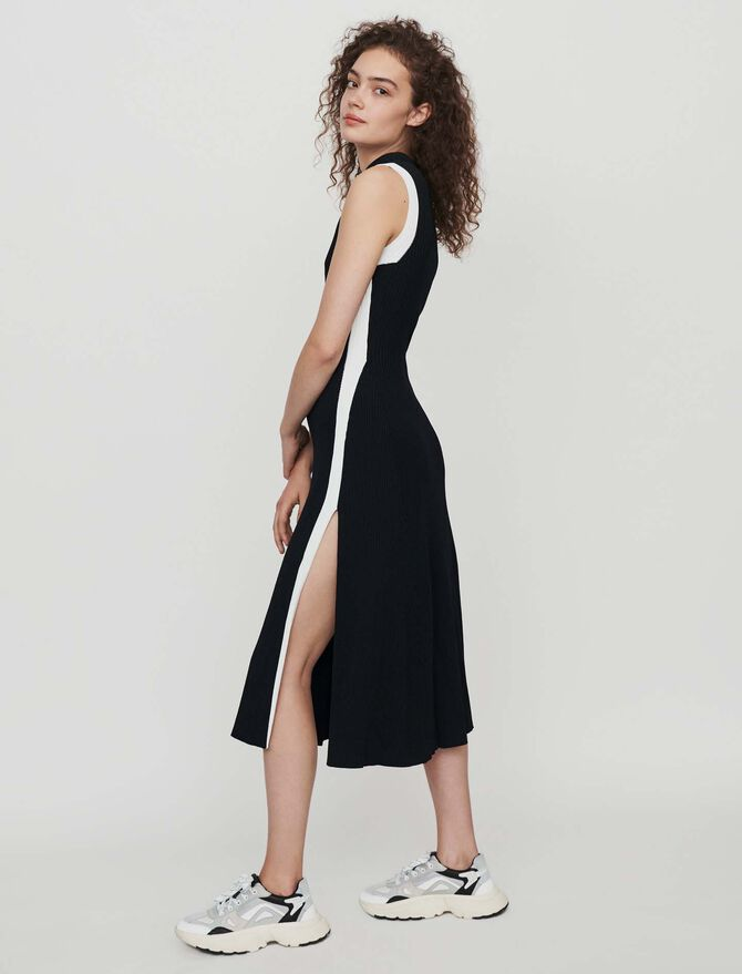 Split and contrasting ribbed dress - Kleider - MAJE