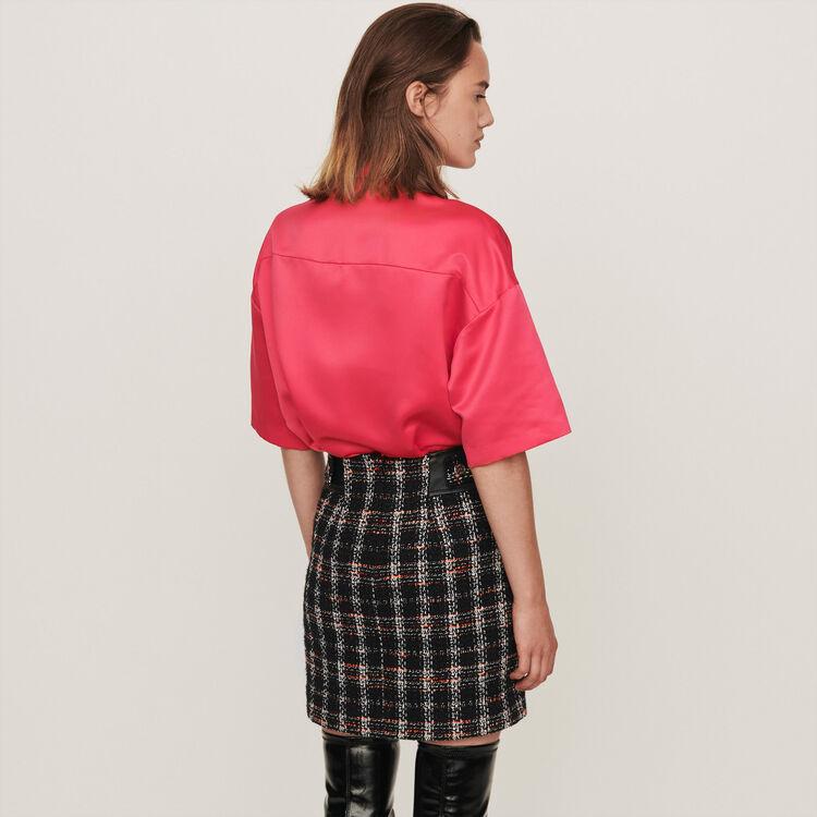 Satin Bluse mit Schmuck auf der Tasche : Tops & Hemden farbe Rosa