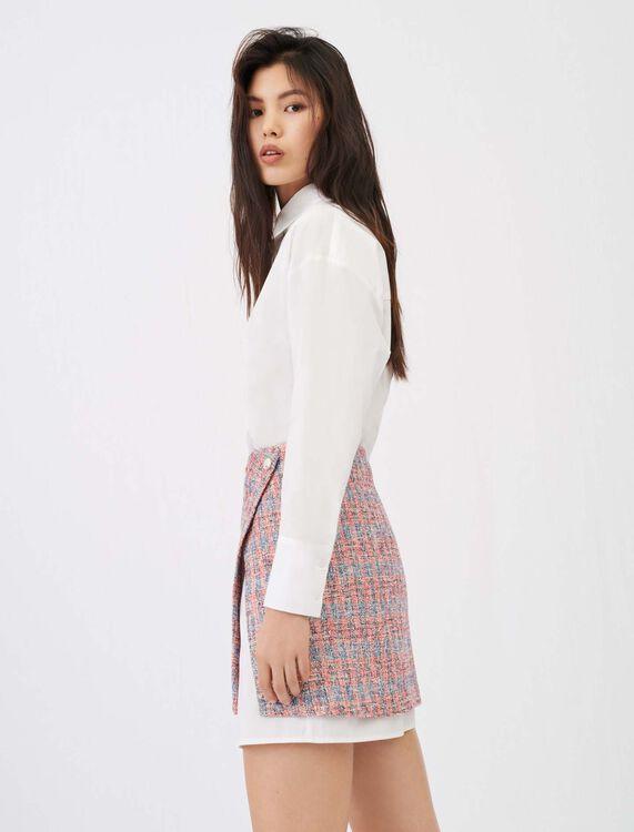 Trompe-l'œil-Hemdblusenkleid, Tweed-Look - Die ganze Kollektion - MAJE