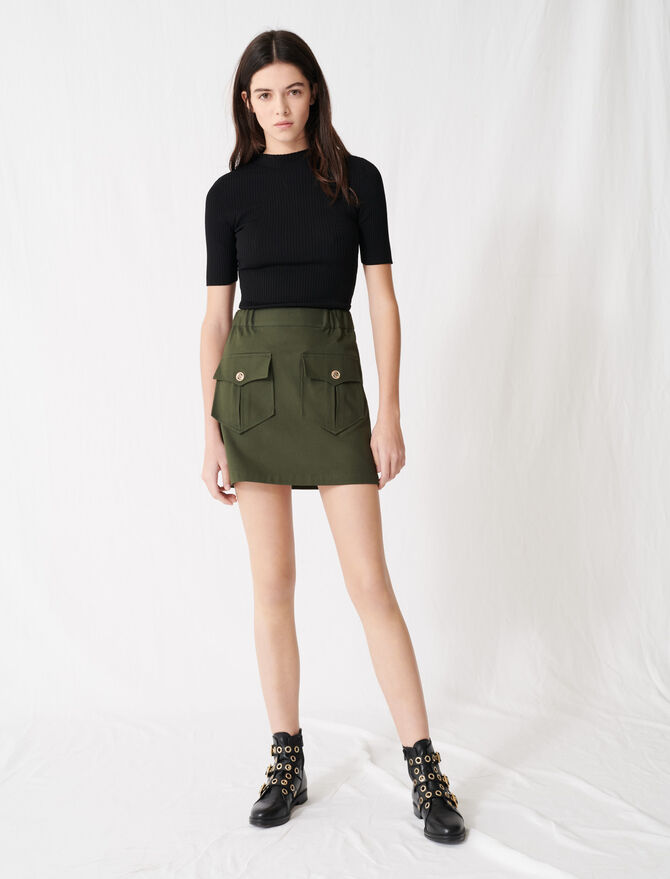 Khakifarbener Baumwollrock mit Taschen -  - MAJE
