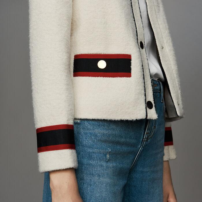 Kurze Tweed-Jacke : Bekleidung farbe Ecru