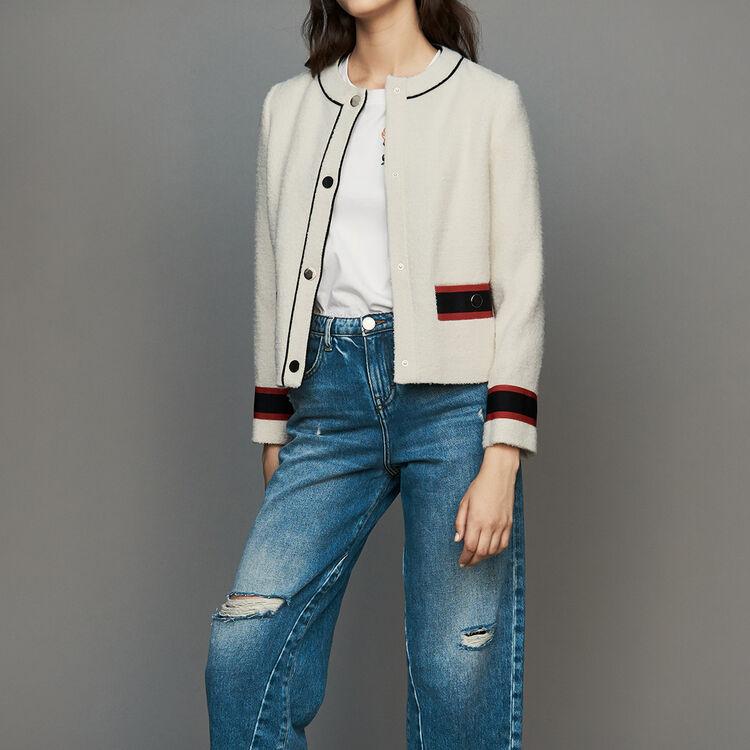 Kurze Tweed-Jacke : Blazers farbe Ecru