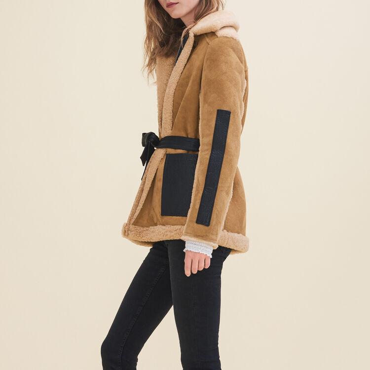 Mantel aus Fellvelours : Manteaux farbe Karamell