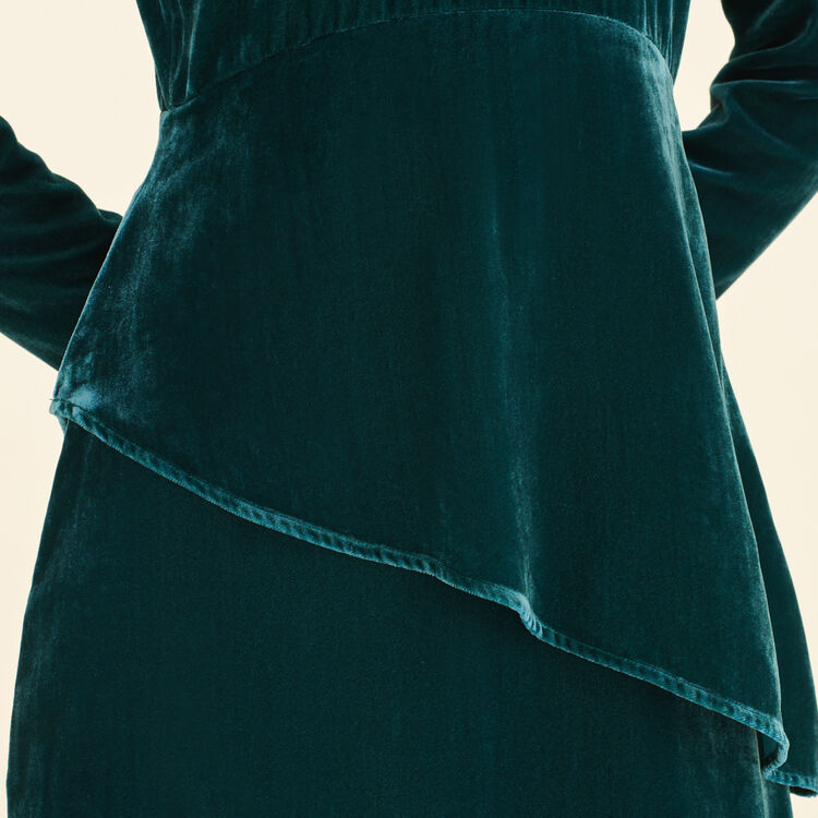 Langes Kleid aus Velours : Robes farbe VERT
