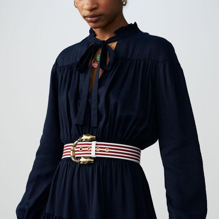 Volantkleid mit Fältchennäherei : Kleider farbe BLEU NUIT