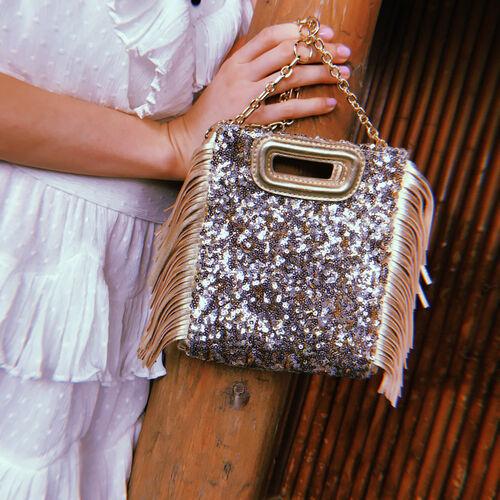 Mini M Tasche mit Pailletten und Kette : M Mini farbe Gold