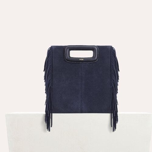 M-Tasche mit Fransen aus Veloursleder : Leder farbe Schwarz