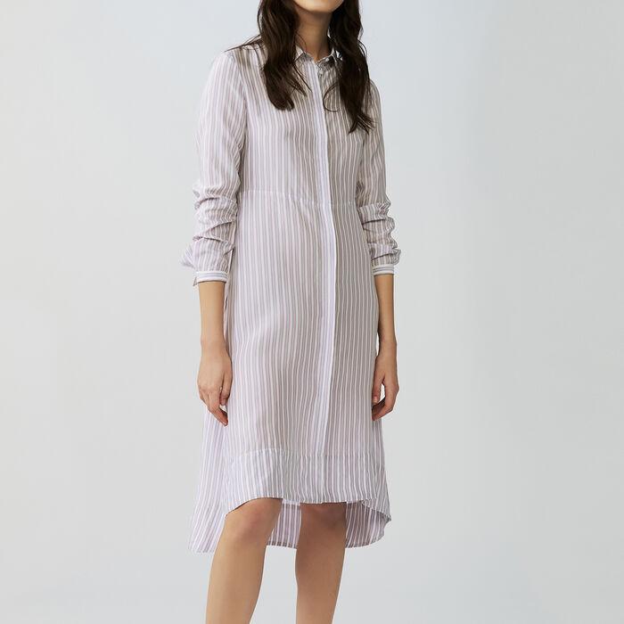 Asymmetrisches gestreiftes Hemdkleid : Kleider farbe Gestreift