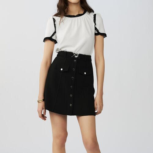Trapezrock mit Gürtel : Röcke & Shorts farbe Schwarz