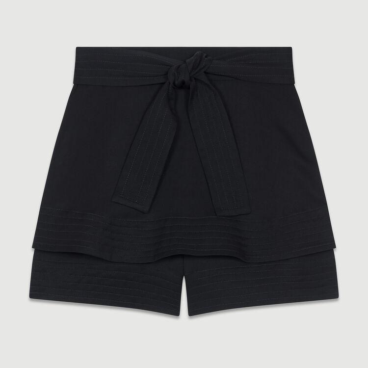 Short-Rock aus Mischleinen : Röcke & Shorts farbe Schwarz
