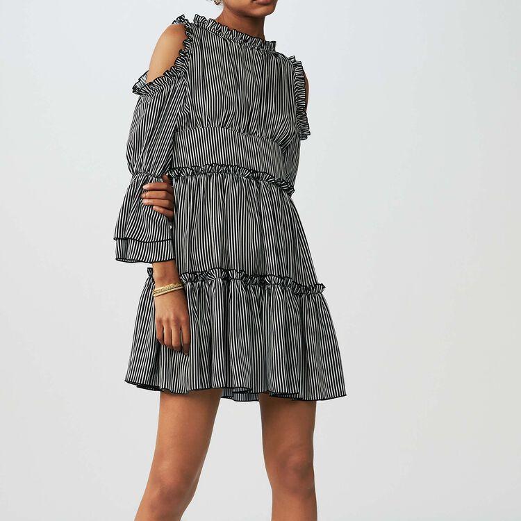 Gestreiftes schulterfreies Kleid : Kleider farbe Gestreift