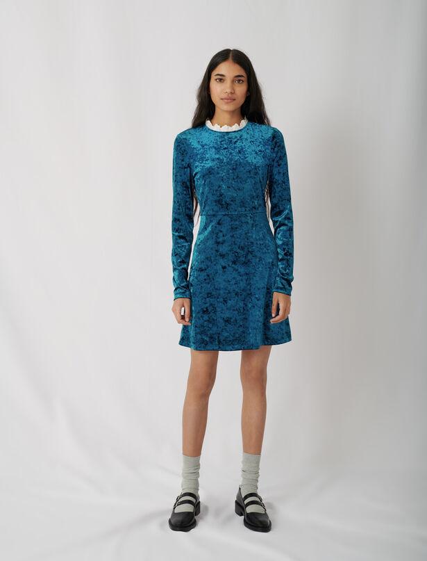 마쥬 원피스 MAJE Samtkleid mit modischem Kragen,Blau