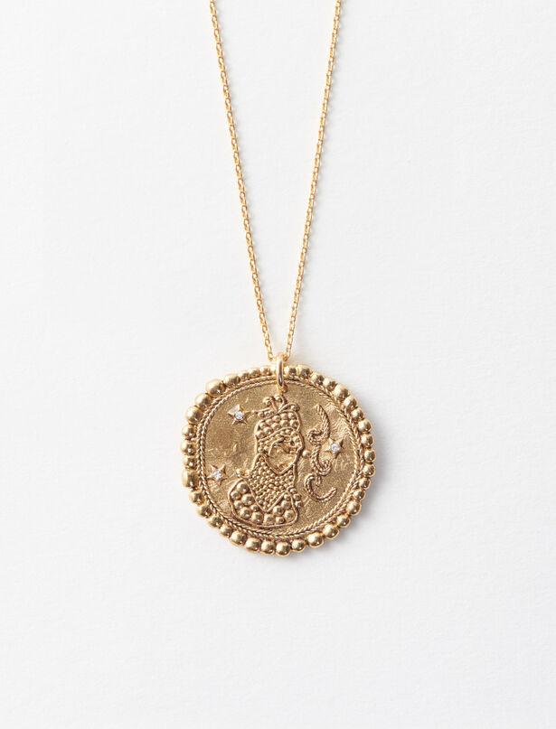 마쥬 MAJE Sternzeichen Jungfrau Halskette,Antik Messing
