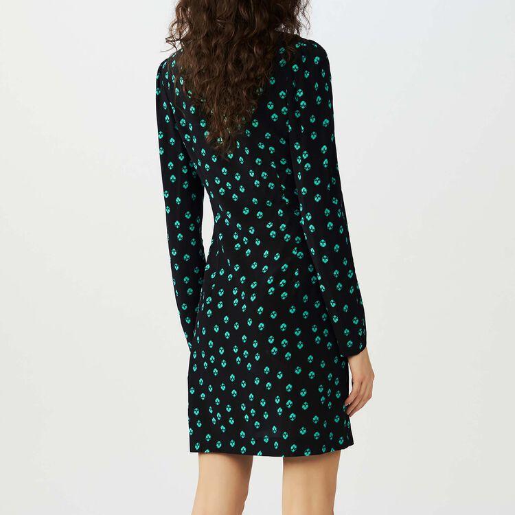 Printed V collar dress : Kleider farbe IMPRIME