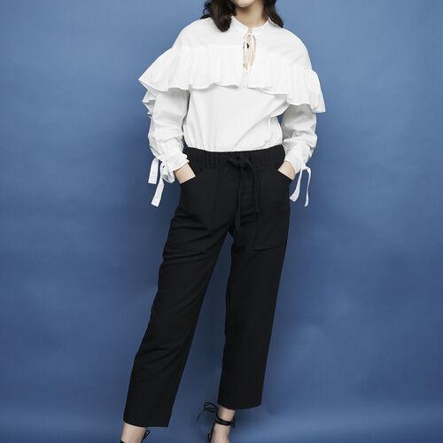 Ausgestellte Krepp-Hose : Hosen farbe Marineblau