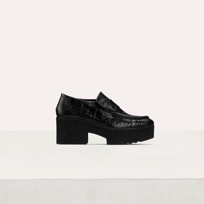 Plateau-Mokassins im Krokodilleder-Stil : Flache Schuhe farbe Schwarz