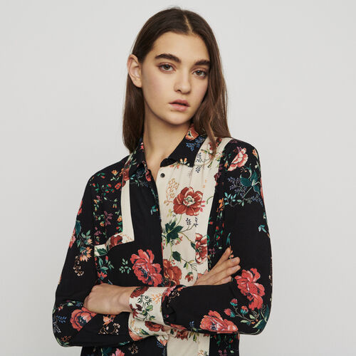 Bedruckte Bluse mit Patchwork : Hemden farbe IMPRIME