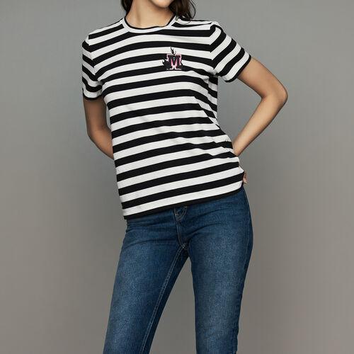 Gestreiftes T-Shirt mit Aufnäher : T-Shirts farbe Gestreift