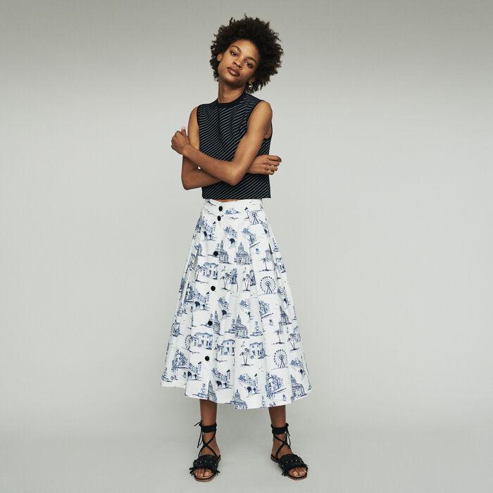 Midi Rock mit Paris Stickereien : Röcke & Shorts farbe Ecru