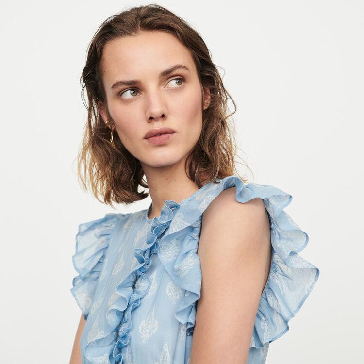 Langes Sommer Kleid mit Volants : Kleider farbe Blau
