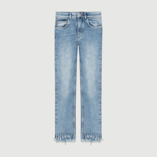 Gerade Jeans mit Fransensaum : Jeans farbe Denim