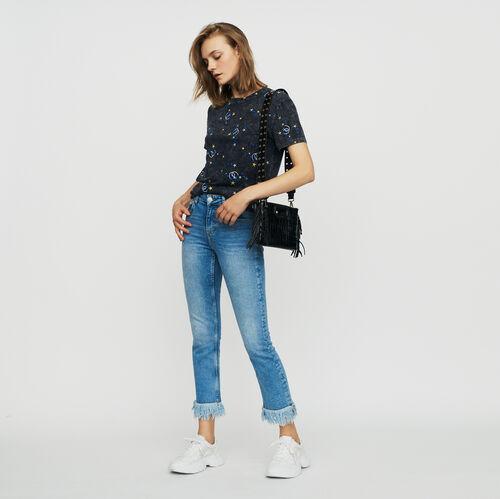 Gerade Jeans mit Fransen : Jeans farbe Denim