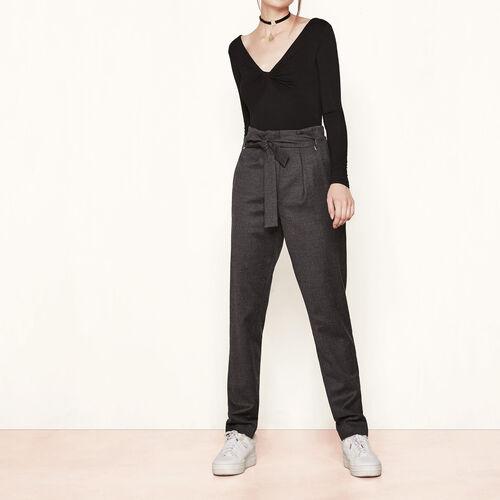 Hose aus Schurwolle mit hoher Taille : Hosen und Jeans farbe Grau