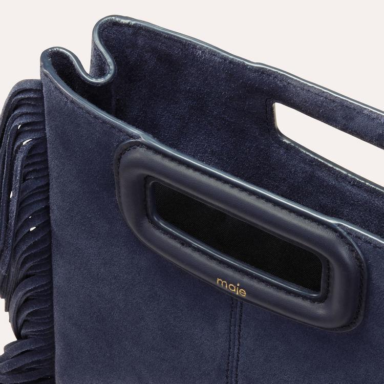 M-Tasche mit Fransen aus Veloursleder : M Tasche farbe Marineblau