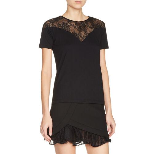 Top aus zwei Materialien mit Spitze : T-shirts farbe Schwarz