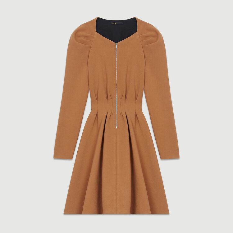 Skaterkleid mit Plissee-Details : Kleider farbe Camel