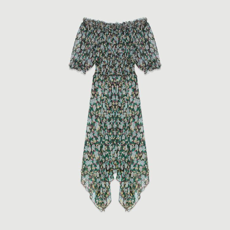 Langes gesmoktes Kleid mit Blumenprint : Kleider farbe IMPRIME