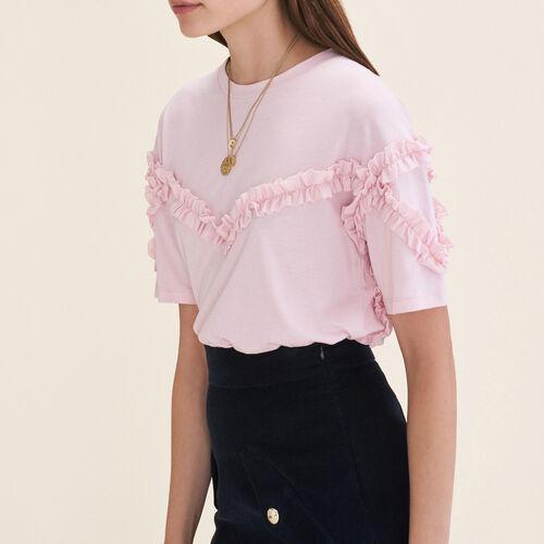 T-Shirt mit Rüschendetail : T-shirts farbe Rosa