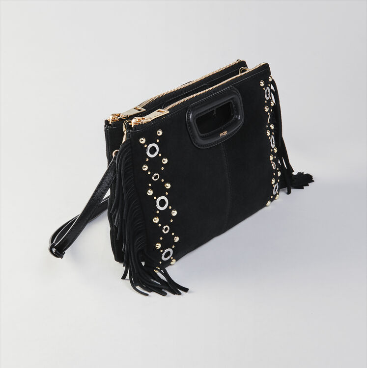Suede M Duo purse with eyelets : M Duo farbe Schwarz