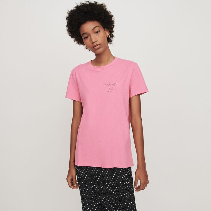 Kurzärmeliges T-Shirt mit Stickerei : T-Shirts farbe Rosa