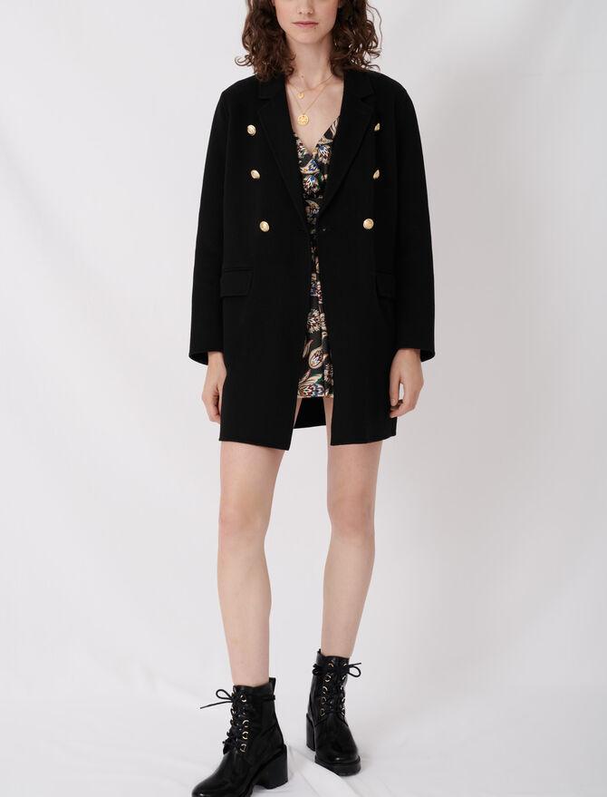 Mantel aus recycelter Wolle mit Gürtel - Blazers - MAJE