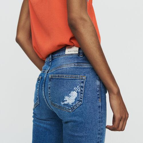Gerade Jeans mit Fransen und Stickereien : Hosen & Jeans farbe Denim