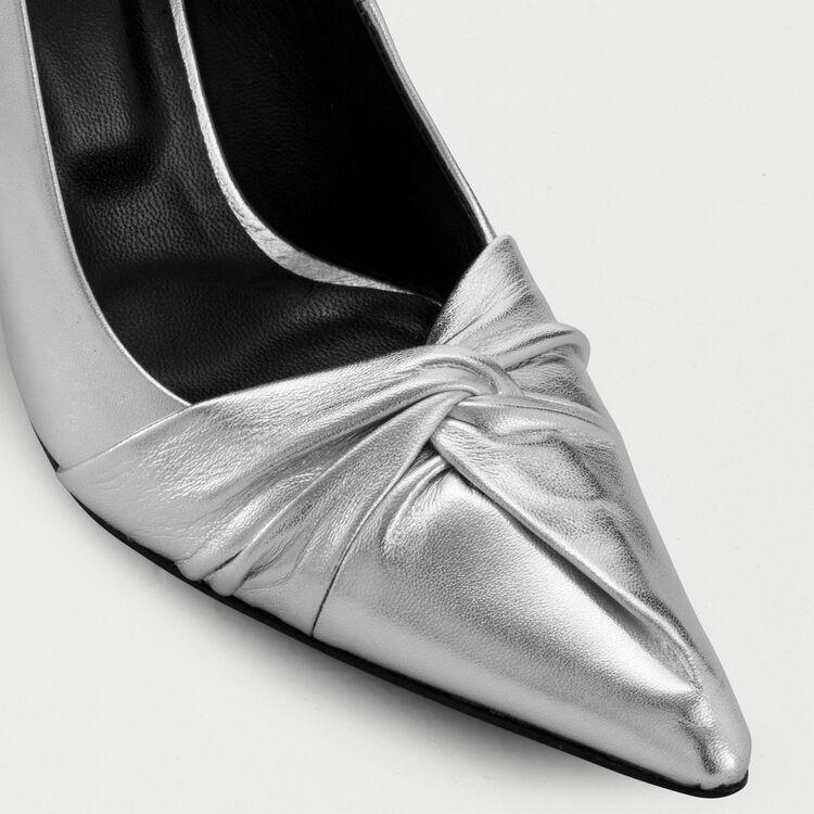 Drapierte Pumps in Silver-Leder : Pumps farbe Silber