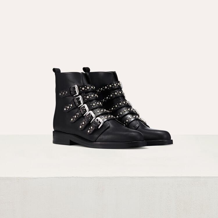 Stiefeletten aus Leder mit Nieten : Schuhe farbe Schwarz